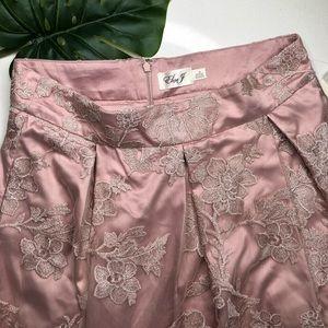 Eliza J Nordstroms Pink Satin Lace A-Line Skirt